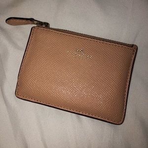 Light pink/ nude colored Coach wallet/ keychain